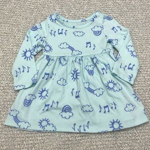 Cat & Jack Blue Rainbow Long Sleeve Baby Dress